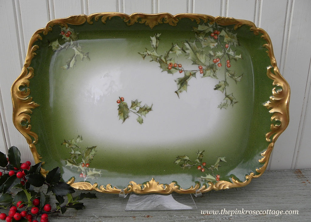 Antique T&V Tressemann Vogt Limoges  Christmas Holly Berry Tray France - The Pink Rose Cottage