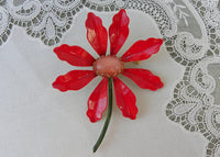 Vintage Original By Robert Christmas Poinsettia Enameled Brooch