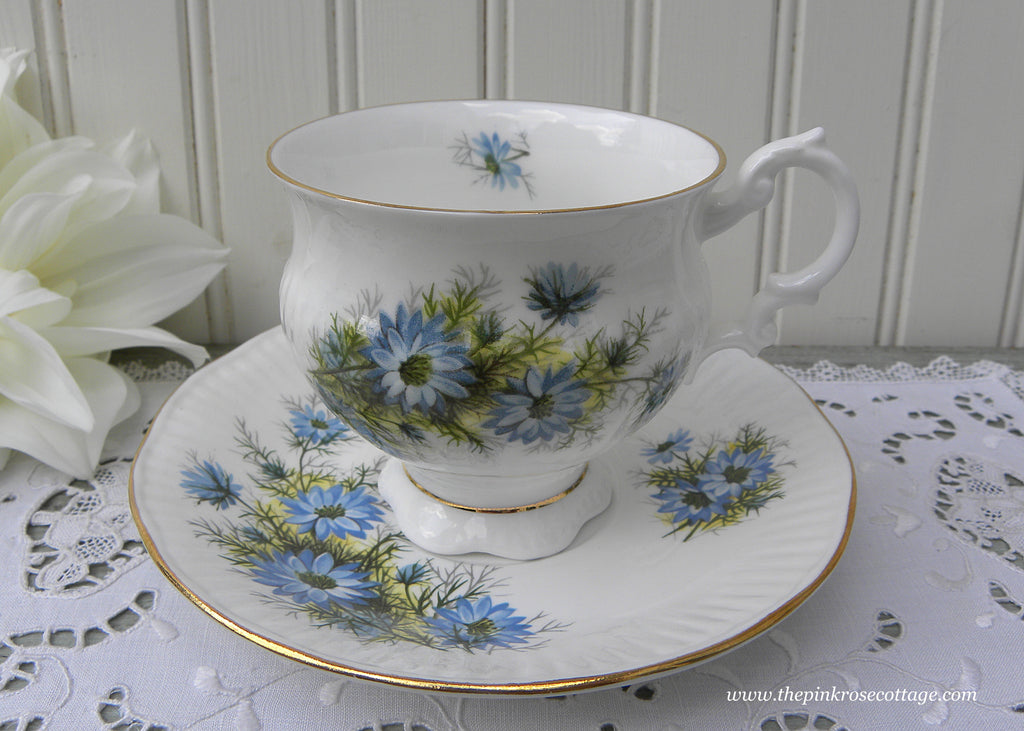 Vintage Elizabethan Blue Bachelor Buttons Teacup and Saucer