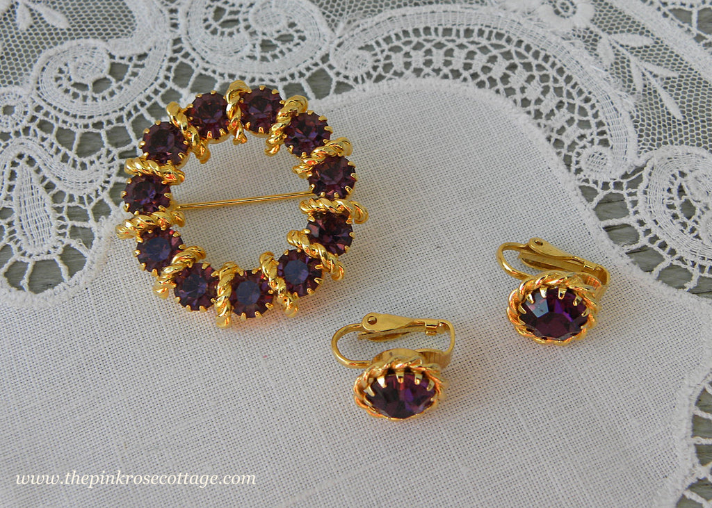 Vintage Purple Amethyst Rhinestone Pin and Earring Set