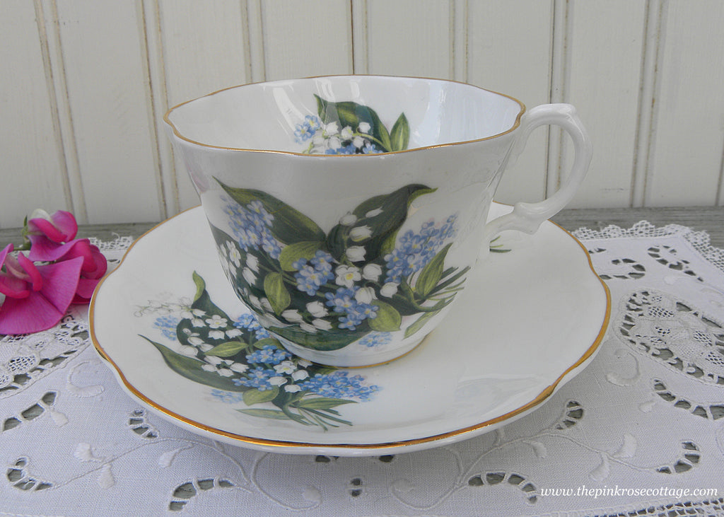 Vintage Rosina Lily of the Valley and Forget Me Nots Teacup and Saucer
