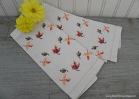 Vintage Embroidered Fall Autumn Leaves Linen Guest Towels