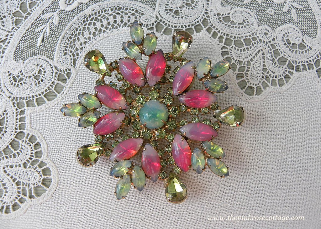 Vintage Sabrina Pink and Green Rhinestone Large Flower Brooch Pin