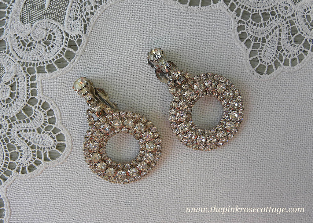 Vintage Rhinstone Large Dangle Earrings