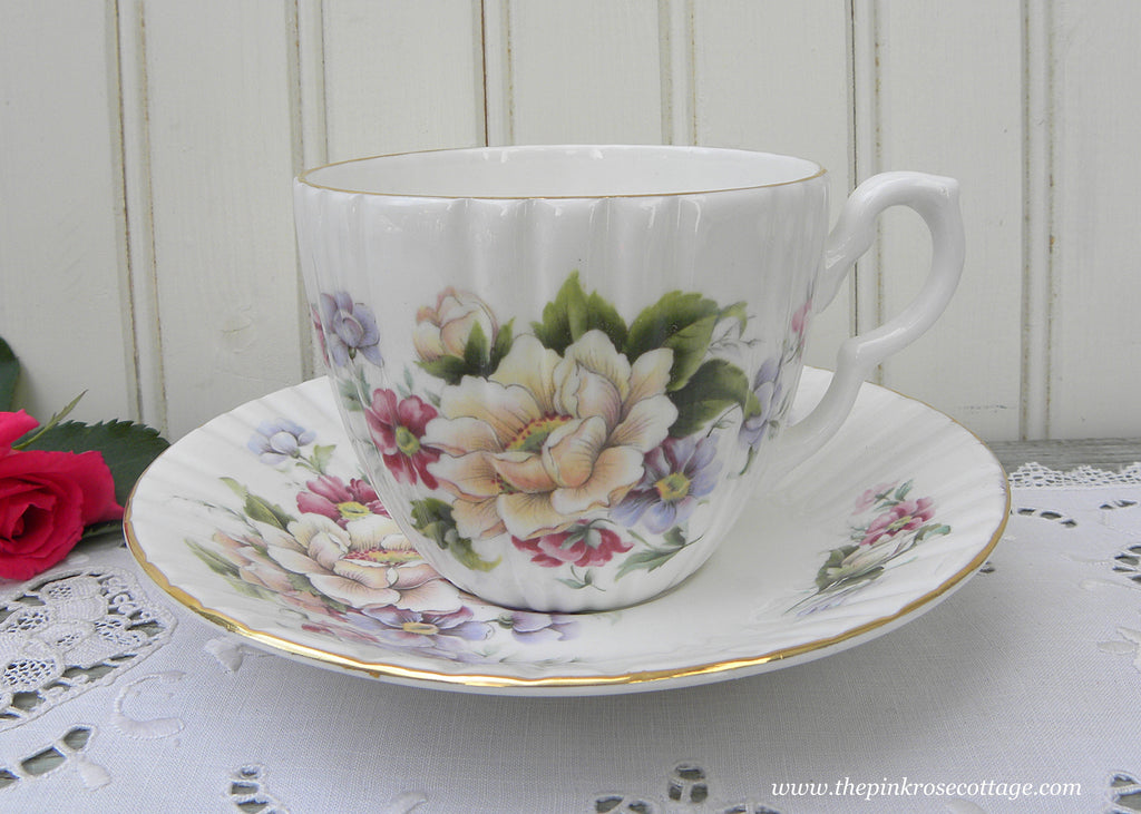 Vintage Teacup and Saucer Wild Pink Roses and Violets