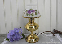 NOS Vintage Hand Painted Violets Hurricane Lamp Nightlight - The Pink Rose Cottage