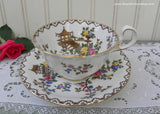 Vintage Anysley Pink Roses and Blossoms Pagoda Teacup and Saucer