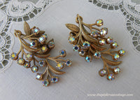 Vintage Aurora Borealis Rhinestone Floral Spray Earrings