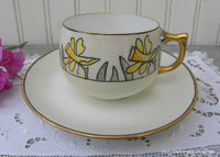 Vintage Hand Painted Art Deco Teacup and Saucer Daffodils