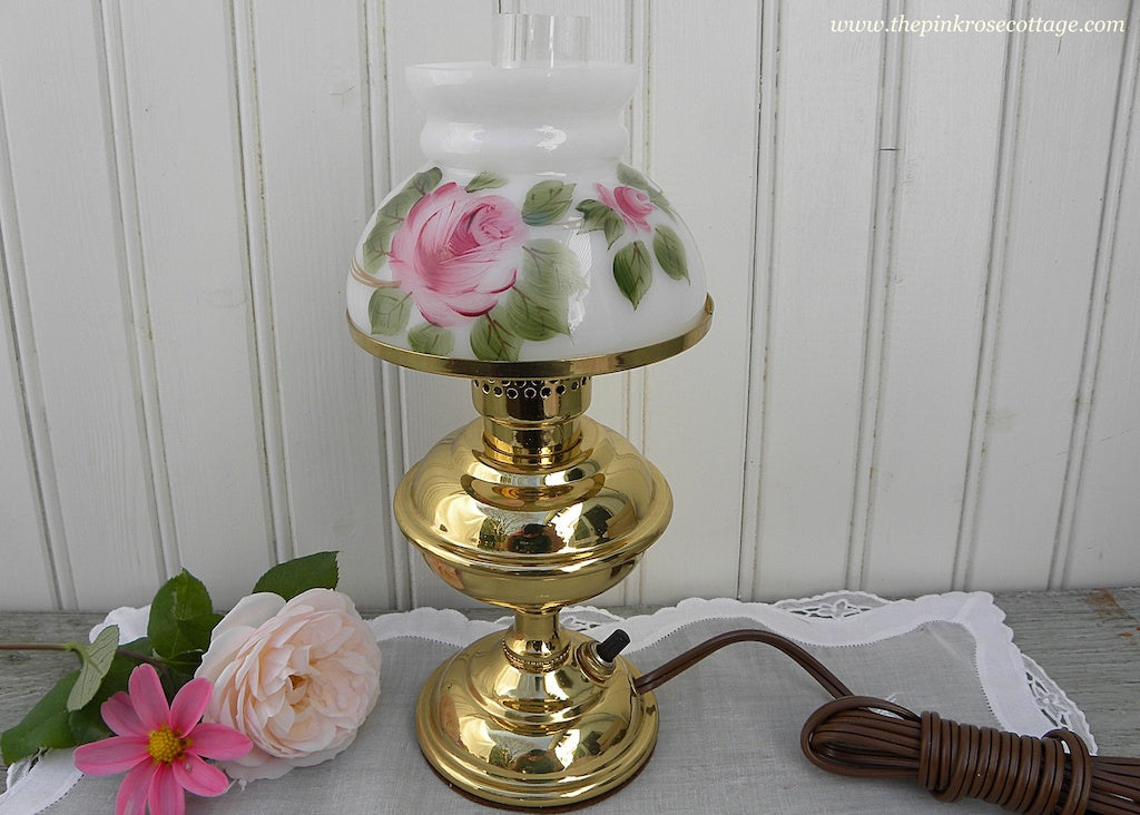 NOS Vintage Hand Painted Pink Rose Hurricane Lamp Nightlight - The Pink Rose Cottage