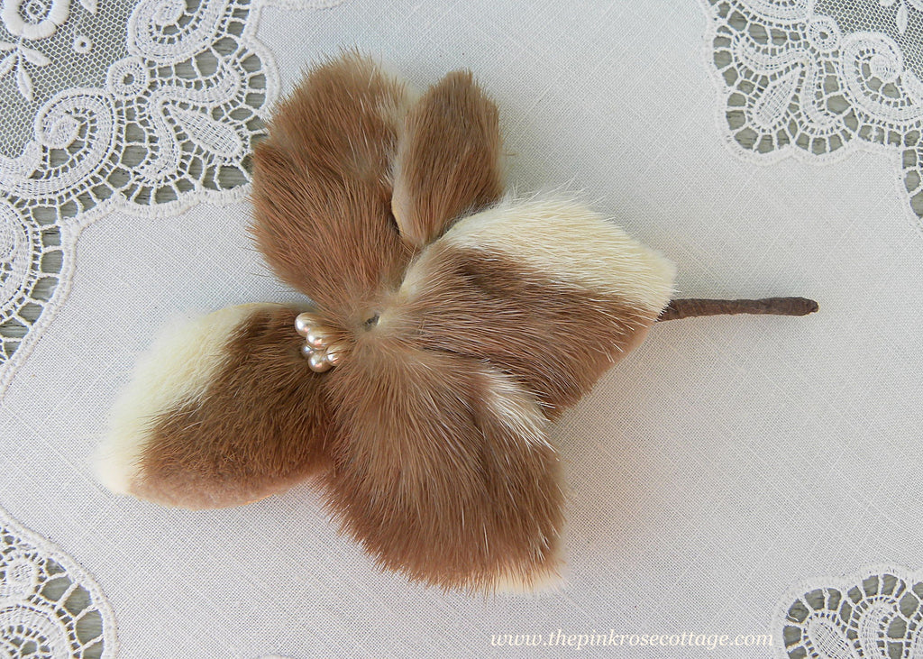 Vintage Millinery Pearls and Fur Flower Corsage Pin