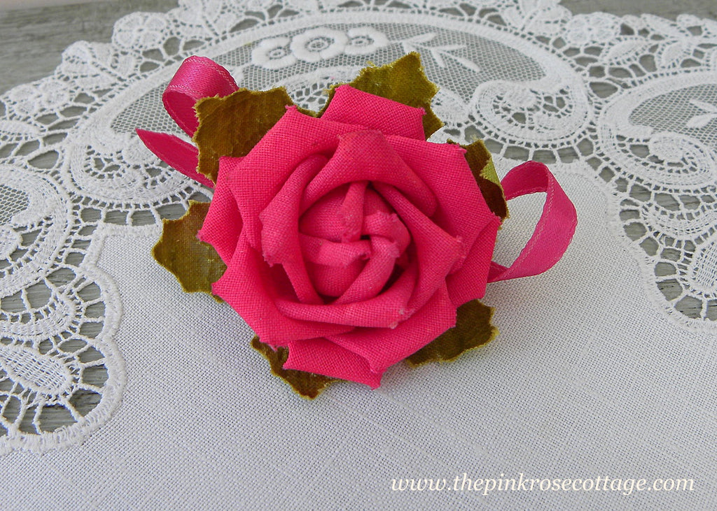 Vintage Millinery Fuchsia Pink Rose Flower Corsage Pin