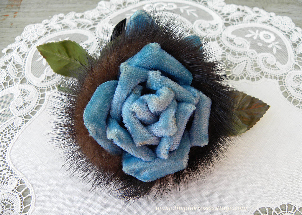 Vintage Millinery Velvet and Mink Blue Rose Flower Corsage Pin