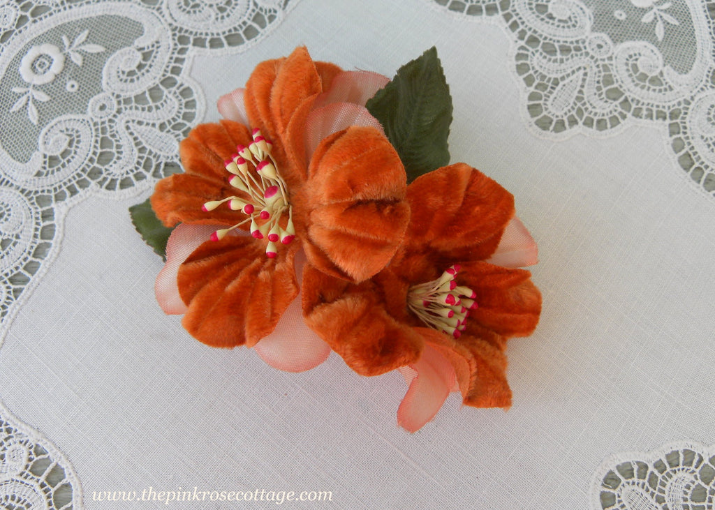 Vintage Velvet Millinery Rust and Peach Flowers Corsage Pin