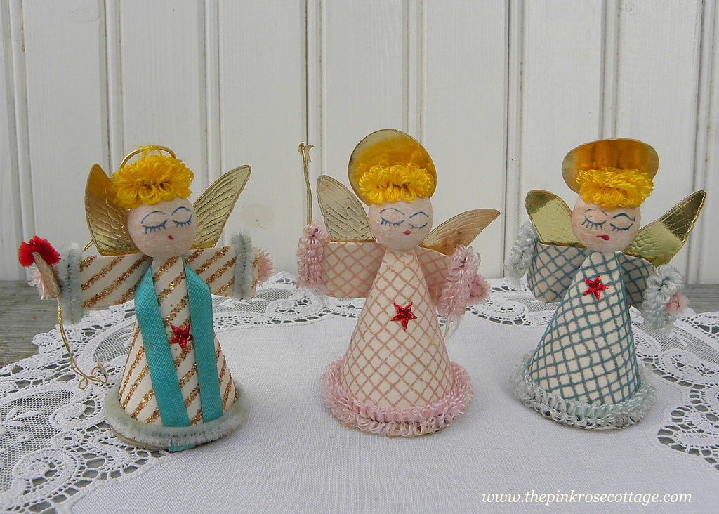 Vintage Pink Teal and Gold Christmas Angel Ornaments Japan