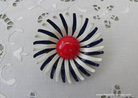 Vintage Red White and Blue Enameled Daisy Pin Brooch