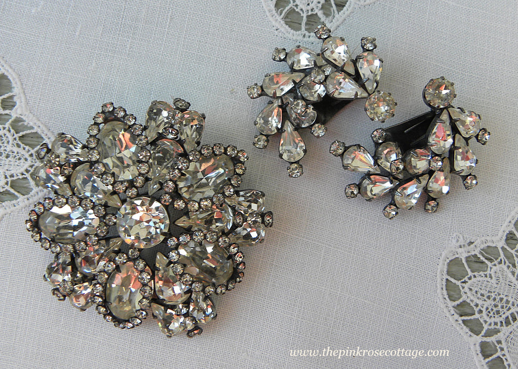 Vintage Weiss Rhinestone Pin Brooch and Earring Set Antiqued Silver
