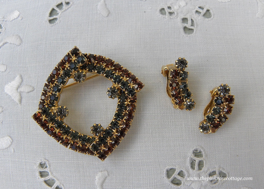 Vintage Brown and Blue Rhinestone Pin and Earring Set