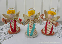 Vintage Gold Striped Christmas Angel Ornaments Japan