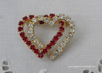 Vintage Red and White Rhinestones Valentine's Day Double Heart Pin