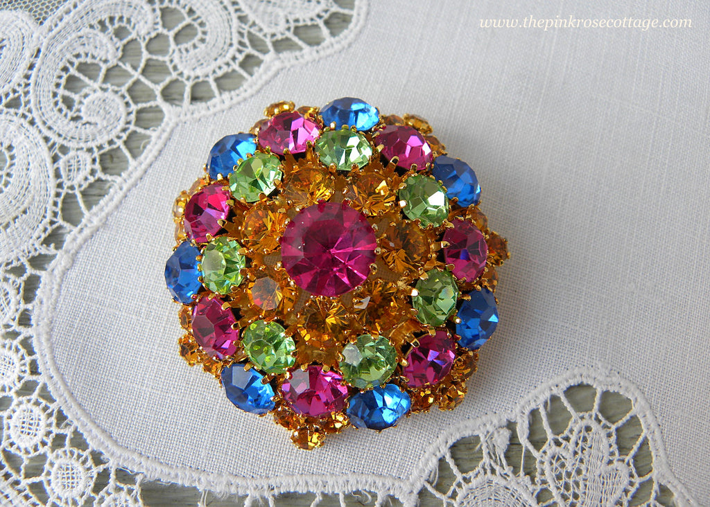 Colorful Jewel Toned Vintage Rhinestone Brooch Pin Austria - The Pink Rose Cottage