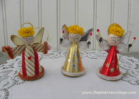 Vintage Red Gold and Striped Christmas Angel Ornaments Japan