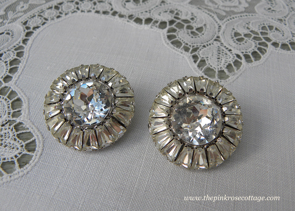 Vintage Weiss Large Rhinestone Earrings