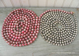 16 Feet Vintage Mercury Glass Pink and Silver Christmas Garland - The Pink Rose Cottage