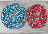 15 Feet Vintage Mercury Glass Red Silver Blue Elongated Beaded Christmas Garland - The Pink Rose Cottage