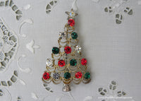 Vintage Red and Green Rhinestone Christmas Tree Pin