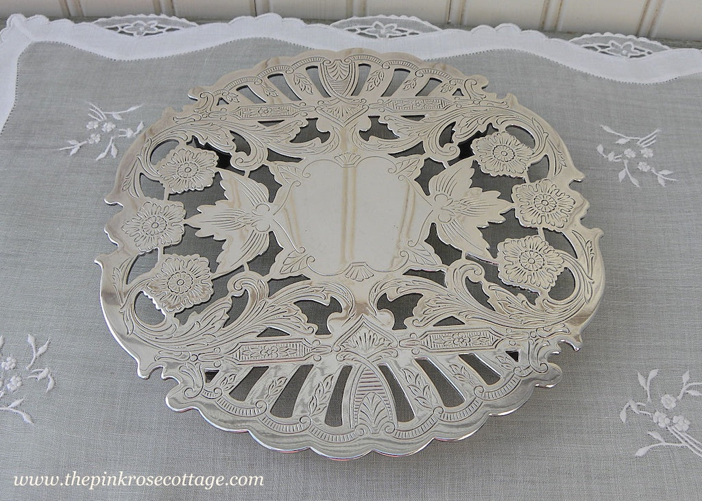 Vintage Wallace Silver Plated Filagree Footed Trivet