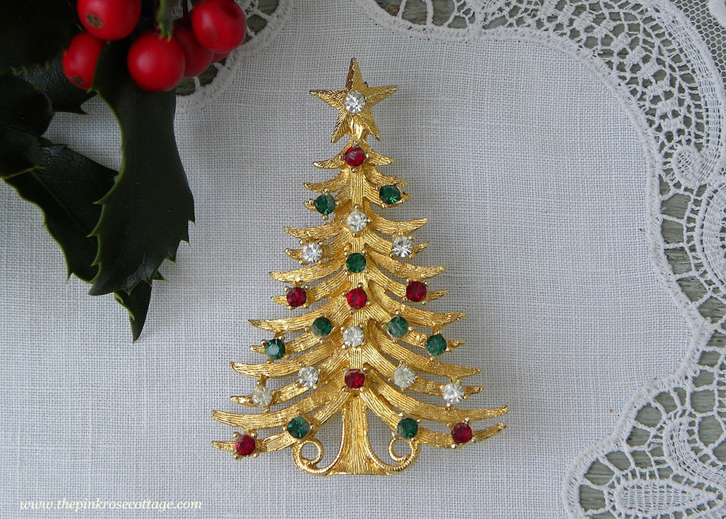 170f091dcde Vintage Rhinestone Christmas Tree Pin Brooch by Mylu | The Pink Rose ...