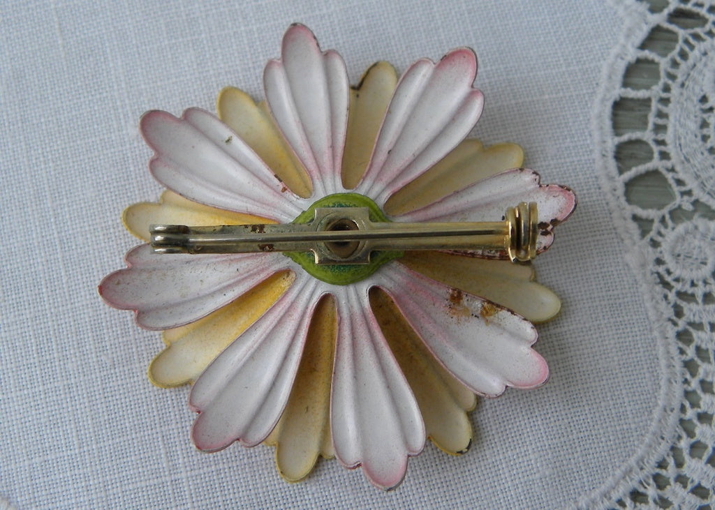 Vintage Enameled Yellow And Orange Flower Pin Brooch The