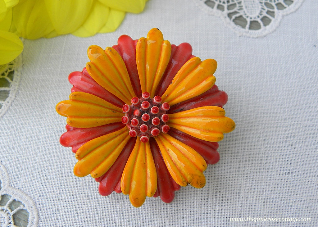 Vintage Enameled Yellow and Orange Flower Pin Brooch
