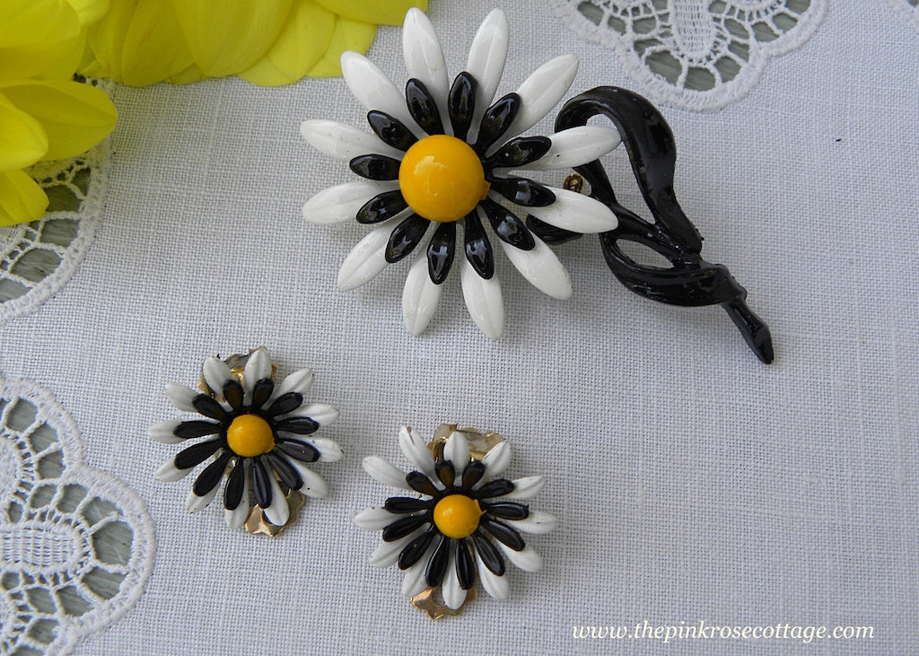 Vintage Enameled Black and White Daisy Pin and Earrings Set