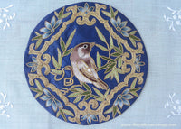 Vintage Embroidered Gold Bird on Blue Silk Round Doily