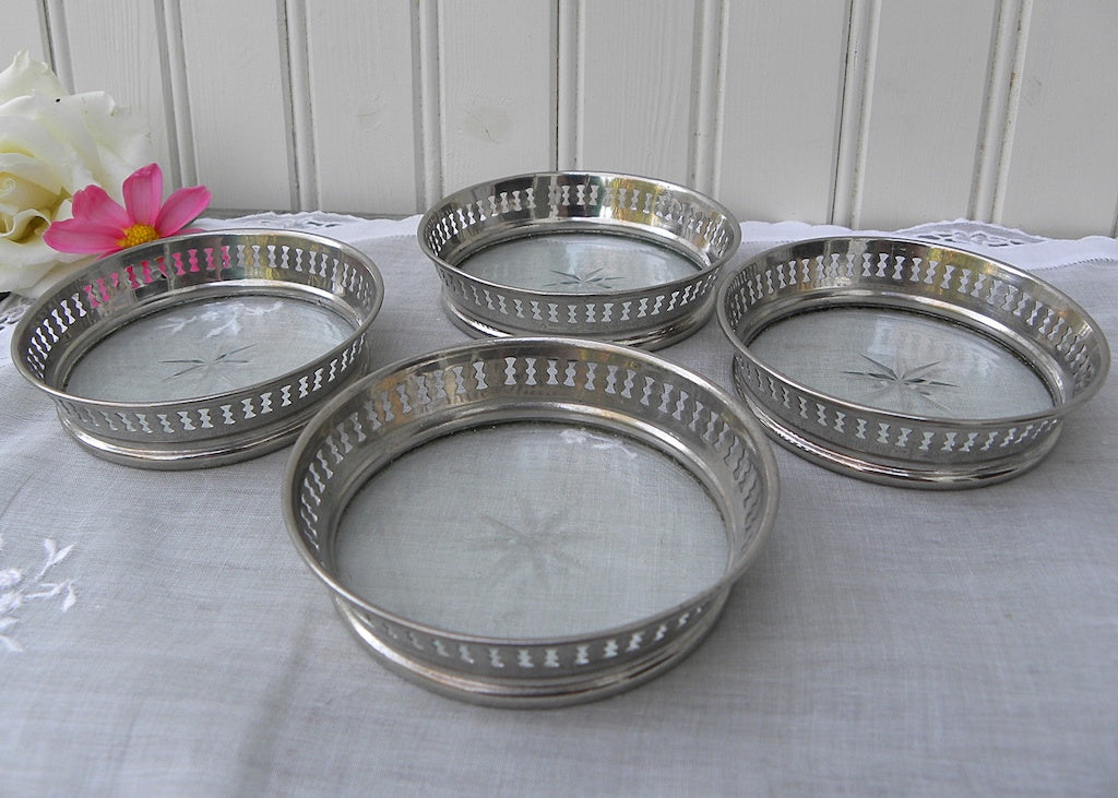 Set of 4 Vintage Silver and Glass Coasters with Star