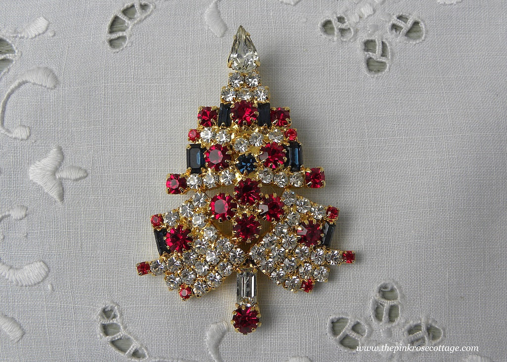 Vintage Rhinestone White Christmas Tree Pin with Candles and Ornaments