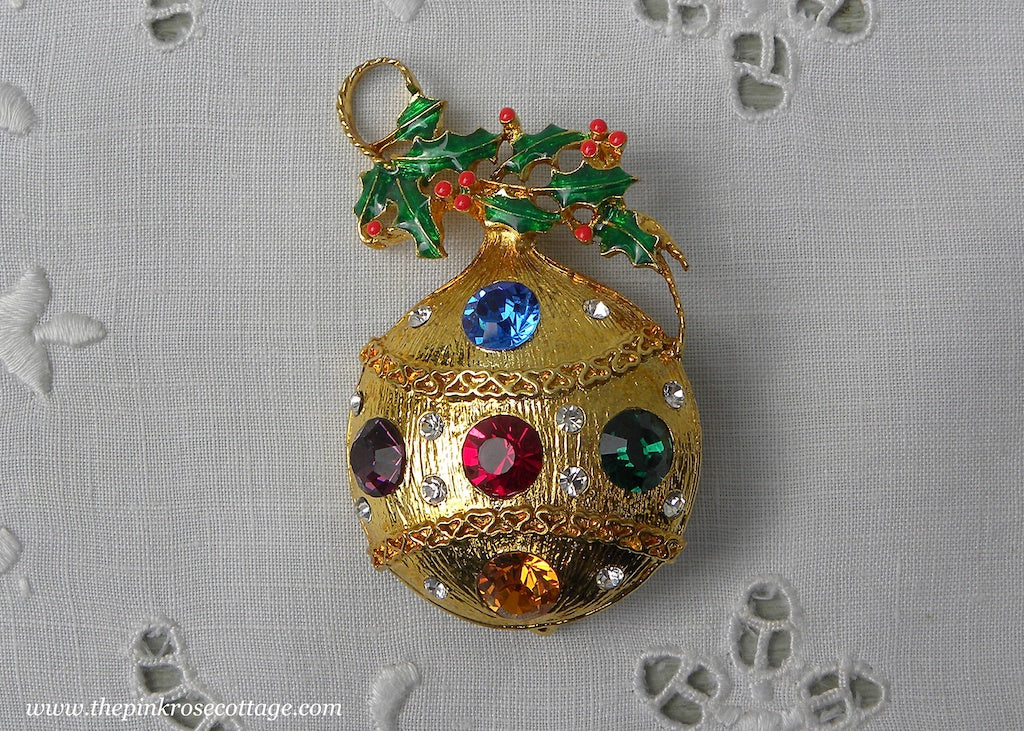 Vintage Eisenberg Ice Rhinestone Christmas Ornament Pin