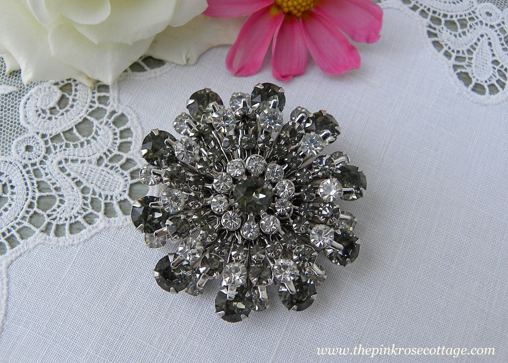 Vintage Smokey and Clear Rhinestone Floral Pin Brooch
