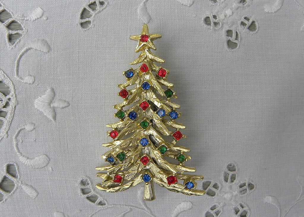 Vintage Gold Christmas Tree Pin with Colorful Rhinestone Ornaments