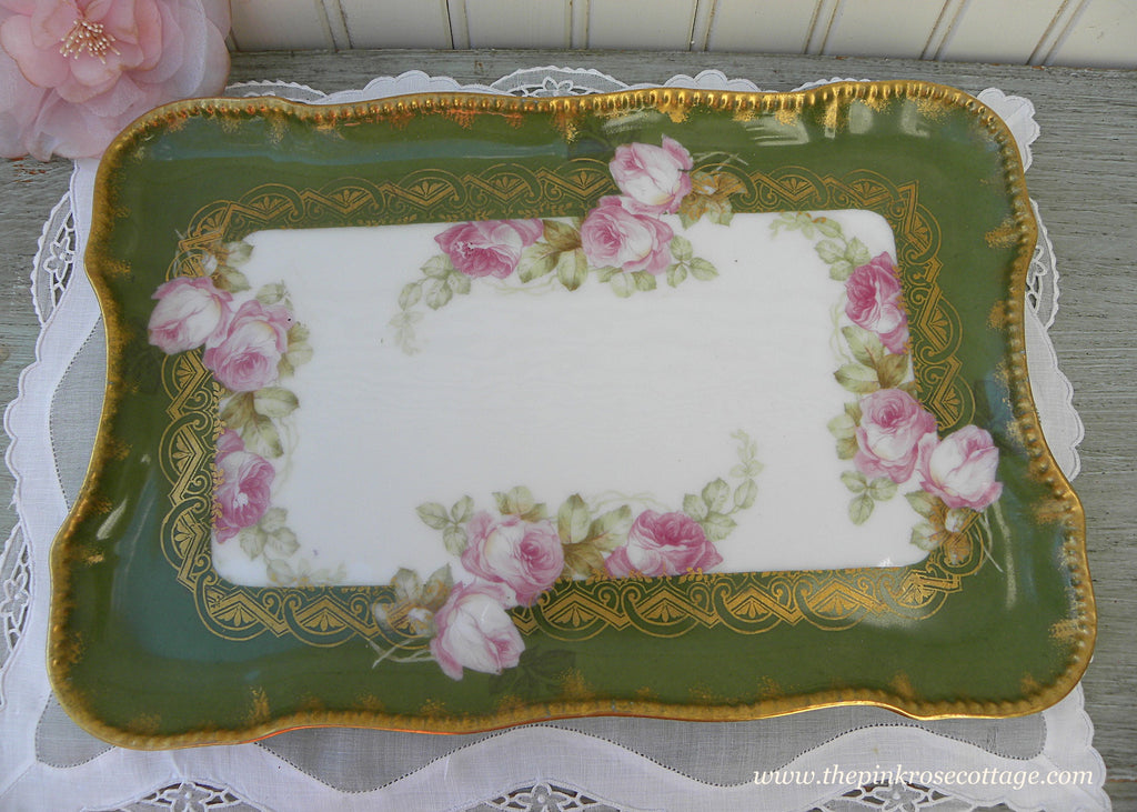 Antique Elite Works Limoges France Pink Rose and Gold Tray - The Pink Rose Cottage