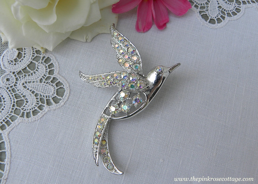 Vintage Sarah Coventry Bird of Paradise Rhinestone Pin Brooch