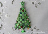 Vintage MYLU Green Christmas Tree Pin with Rhinestone Ornaments
