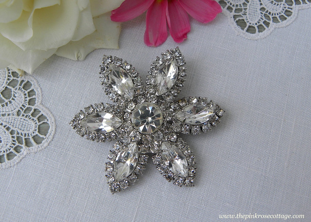 Vintage Marquee and Round Rhinestone Flower Pin Brooch