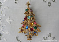 Vintage Gold Christmas Tree Pin with Pink Blue Red Green Rhinestones