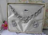 Vintage Silver Floral Rhinestone Necklace and Earring Set in Original Box