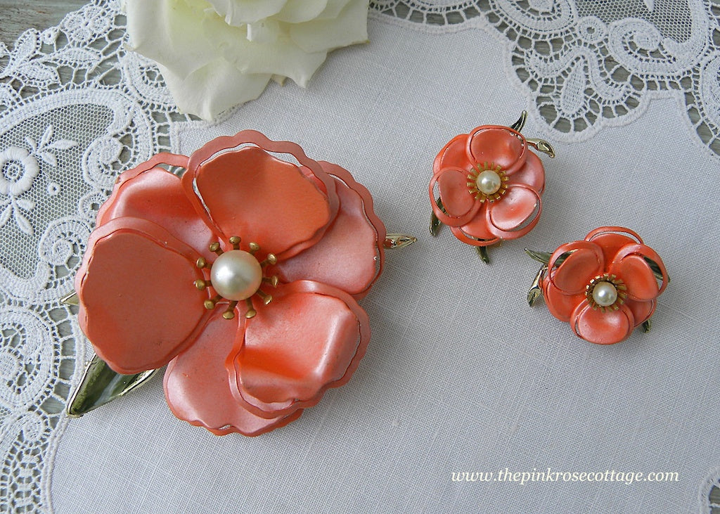 Vintage Satin Enameled and Pearl Orange Poppy Pin and Earring Set