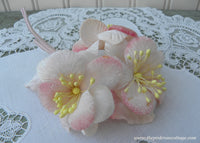 Vintage Velvet Millinery Soft Pink Flowers Corsage Pin