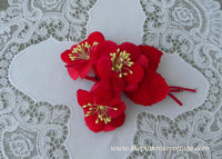 Vintage Velvet Millinery Red Flowers Corsage Pin
